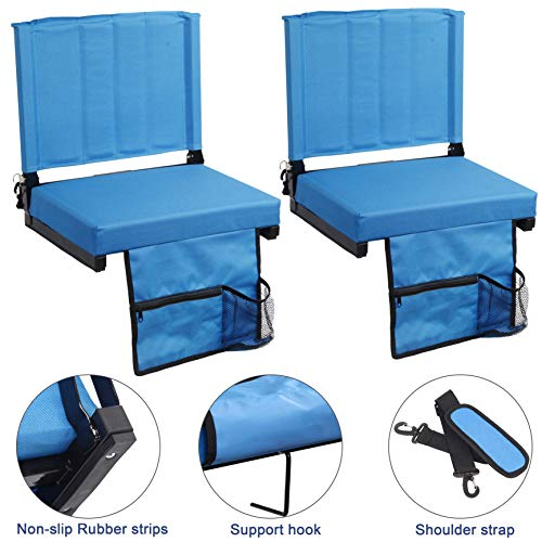 - SPORT BEATS Stadium Seats for Bleachers or Benches Stadium Chair with Back Support and Wide Padded Cushion-Includes Shoulder Strap and Cup Holder