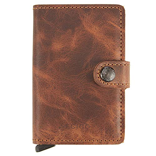 SECRID - Secrid Mini wallet Genuine Leather Cognac RFID Safe Card Case for max 12 cards (Cognac)