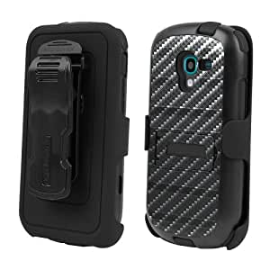 Spots8® for Samsung Galaxy Exhibit T599 3 in 1 Rugged High Impact Hybrid Tough Armor Case with built in kickstand & Belt Clip Holster Combo Carbon Fiber Black Design - FREE Screen Protector Protector