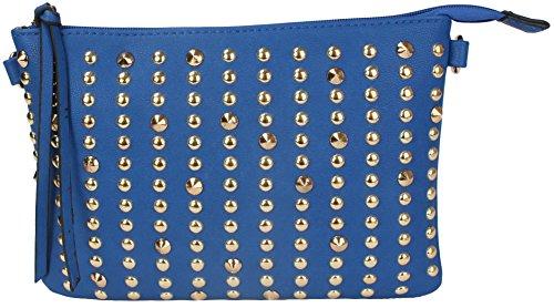 MoDA-Faux Leather Gold Tone Studded Shoulder Cross Body Wristlet Handbag- Assorted Colors (Blue)