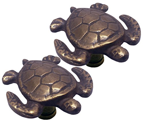 Nesha Sea Turtle Cabinet Pulls Knob Set of 2 ()