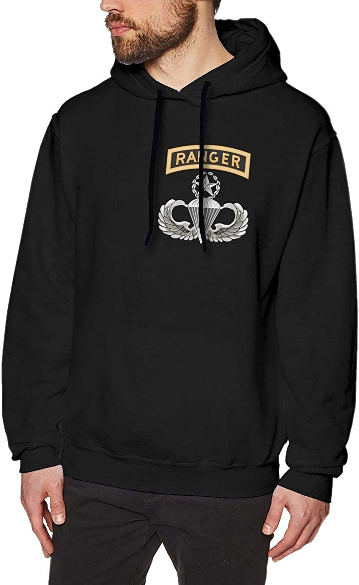 MUSICOT Master Parachutist with Ranger Tab License Mens Pullover Hooded Sweatshirt Cozy Sport Outwear