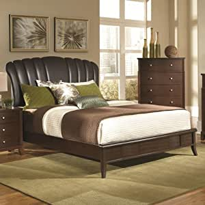 Upholstered Shell Headboard Low Profile Queen Bed