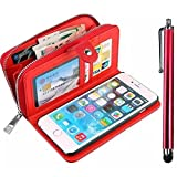 Vandot Apple iPhone 5C Case,Premium Fashion Multi-purpose PU Leather Zipper Wallet Case Women Hangbag With Card Slots Flip Magnetic Cover Protective Skin Shell +Bling Metal Stylus Pen-Red