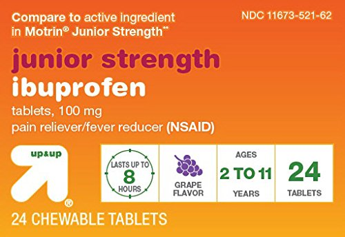 Strength Grape Flavor - Up & Up Junior Strength Ibuprofen for Children, Grape Flavor, 24 Chewable tablets