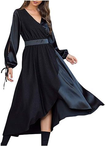 Shenye damska sukienka wieczorowa, wiosna, lato, z długim rękawem, dekolt w szpic, modna sukienka do łydek, sukienka na imprezę, sznurowanie, szyfon, nieregularne obszycie, wysoka talia, elegancka sukienka
