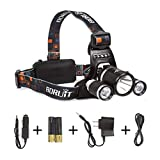 Boruit LED Headlamp Rechargeable Waterproof Head Flashlight Lamp with 3* Cree XM-L T6