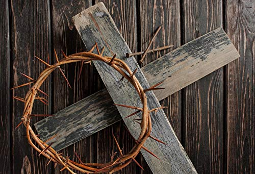 Yeele Backdrops 5x3ft Crown of Thorns Nails Jesus Dark Brown Wooden Floor Cross Lron Nail Christ Resurrection Easter Christian Pictures Adult Artistic Portrait Photoshoot Props Photography Background