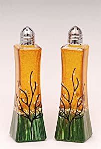 Glass Salt and Pepper Shakers Amber Yellow Set of 2