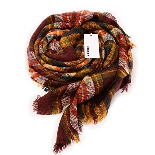 Vinaka Womens Cozy Tartan Scarf Wrap Shawl Neck Stole Warm Plaid Checked Pashmina (dark brown)