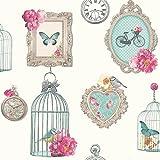 Arthouse Vintage Inspired Birdcage Madeline Wallpaper, White