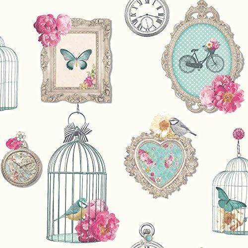 Vintage Inspired Birdcage Madeline Wallpaper