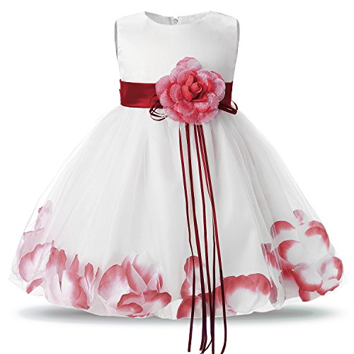 - NNJXD Girl Tutu Flower Petals Bow Bridal Dress for Toddler Girl Size(XL) 19-24 Months Red