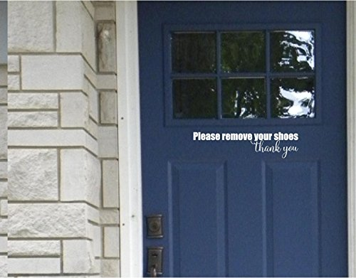 Epic Designs Front Door Sticker - Please Remove Your Shoes Thank You - Wall Sayings Vinyl Decals Art (White)