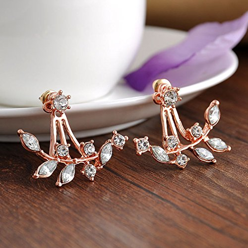 ERAWAN Womens Fashion Crystal Leaf Ear Jacket Gold Silver RoseGold Plated Back Cuff Stud Earring EW sakcharn (Rose Gold)