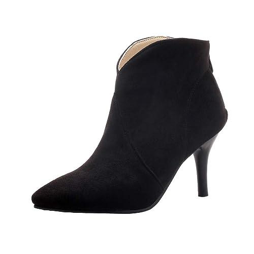 Damen High Heel Wildleder Stiefeletten Mit 8cm Absatz Stiletto Lack