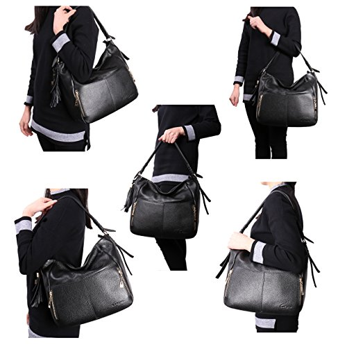 Geya Women's Fashion Genuine Leather Handbag Shoulder Handbag with Imported Soft Hot Leather (Black) by Geya (Image #4)