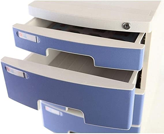 Desktop File Cabinets Lock Plastic Drawer Storage Organization with Blank Label and 3 Drawers-Blue