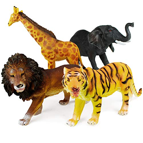 "Boley 4 Piece Jumbo 11"" Safari Animals Set - Large Zoo Animals and Jungle Animals Set - Includes Elephant, Giraffe, Lion, and Tiger - Ideal Educational Toy for Kids, Children, Toddlers"