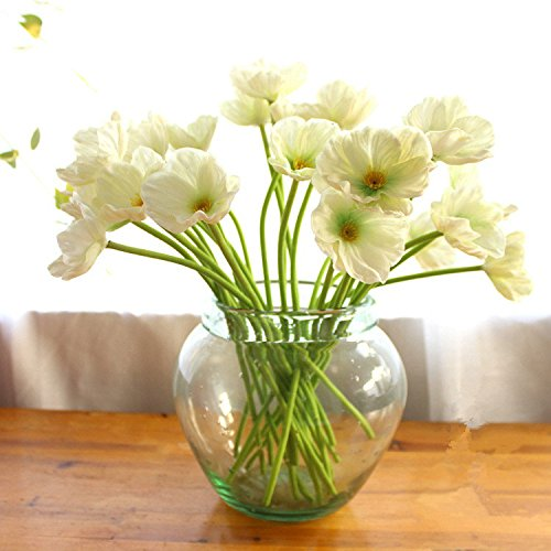 10 PCS High Quaulity Fresh Artificial Mini Real Touch PU/ latex Corn Poppies Decorative Silk fake artificial poppy flowers for Wedding holiday Bridal Bouquet Home Party Decor bridesmaid (Whtie) by Bluefun