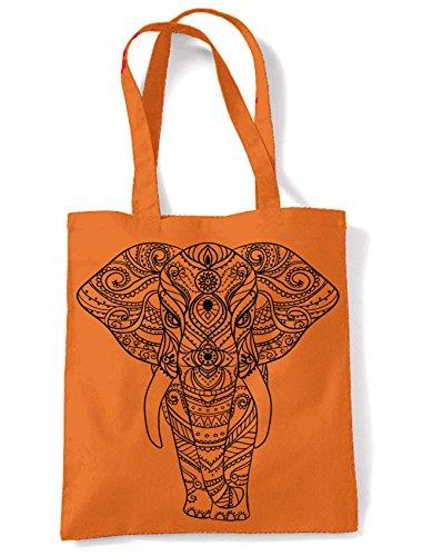 Color Impresión Naranja Tribal India De Elefante Compras Bolsa Bolsa De Tatuaje Hombro De Del Grande xqB4pFxw