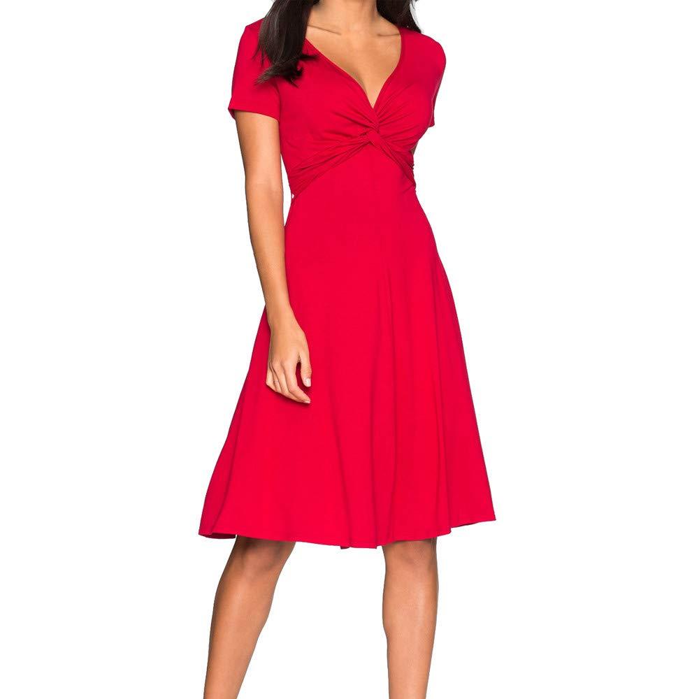 HEFEITONG Women Solid Plus Size Short Sleeve V Neck Short Party Dress KIEKKKO789 13.44