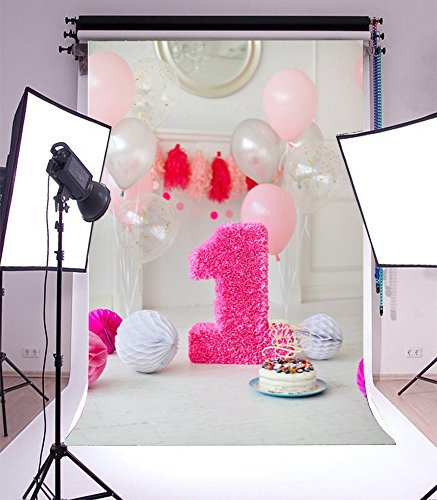 Laeacco Vinyl 5x7ft Photography Background White&Soft Pink Flowers Paper Flower Balls One Year Old Candy Cake Number 1 Holiday Party Decor Photo Pink 1st Birthday Pinata on (Halloween Scenery Background)