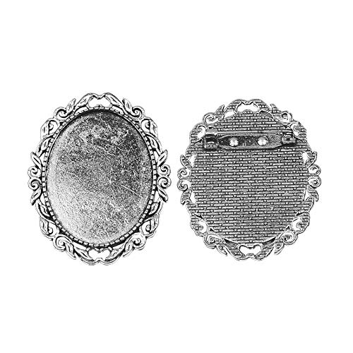 PandaHall 10pcs Antique Silver Oval Alloy Tray Vintage Brooch Cabochon Bezel Settings with Iron Pin Back Bar Findings for Women Brooch Making