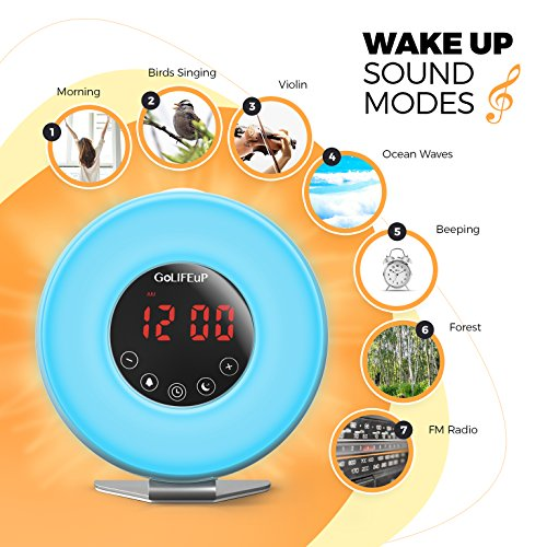 Alarm Clock Radio Digital Sunrise and Sunset simulation Wake Up Light for  kids teens women and 4b0d7d21e
