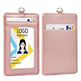 Leather ID Badge Holder, Vertical PU Leather ID
