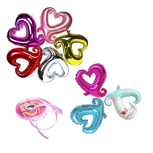 Wytogether Heart Shape Balloon,Hollow Heart Balloon,Love Foil Balloon for Valentine's Day,Wedding Banquet,Pet Birthday Party.18 Aluminium Foil Mylar Balloon,8 Color and Curl Ribbons. ()