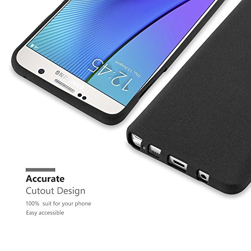 Cadorabo - Cubierta protectora para Samsung Galaxy NOTE 5 de silicona TPU en diseño Escarcha �?Case Cover Funda Carcasa Protección en FROST-NEGRO FROST-NEGRO
