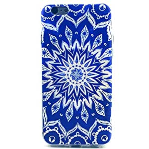 6 Case, iPhone 6 Case LUOLNH Blue Sunflower Pattern Clear TPU Silicone Gel Back Cover Skin Soft Case for iPhone 6 £¨4.7 Inch£©