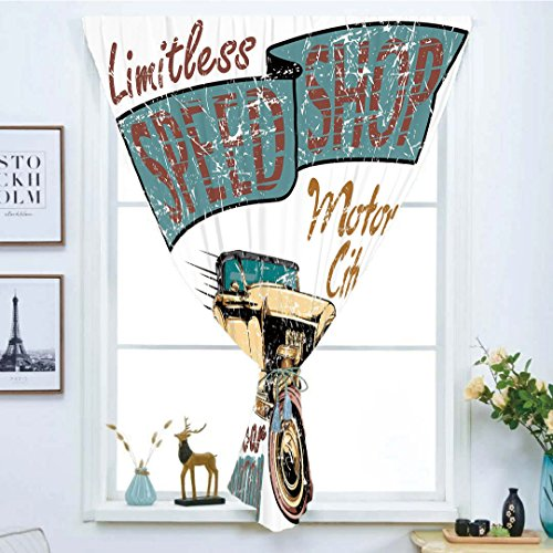 Blackout Curtain Free Punching Magic Stickers Window Curtain,Cars,Limitless Speed Shop Advert with a Vintage Sports City Evolution Print,Blue Grey Sand Brown Ruby,for Living Room Bedroom, study, kitch