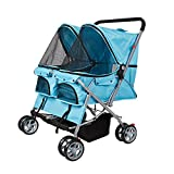 KARMAS PRODUCT 4-Wheels Twin Pet Stroller Pet Cart Cat Dog Walk Travel Folding Carrier For 2 Pets 2 Parts