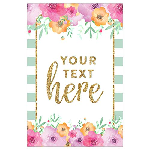 Andaz Press Personalized Extra Large Wedding Easel Board Party Sign, 12x18-inch, Mint Green Stripes Floral Flowers Faux Gold Glitter, Your Text Here, 1-Pack, Custom