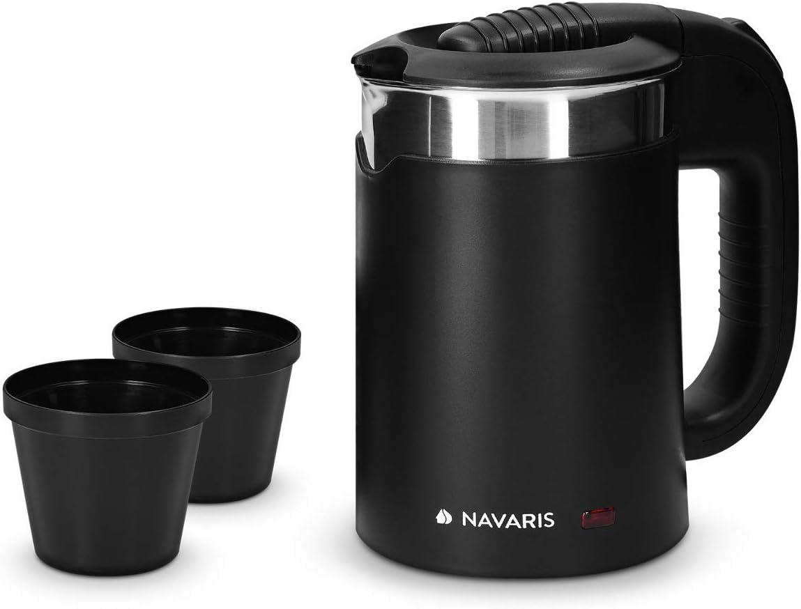 Navaris Hervidor de Agua de Viaje 0.5L - Mini Tetera para hervir Agua con 2 Tazas - Mini Calentador eléctrico y portátil para Camping o Viaje 1100W