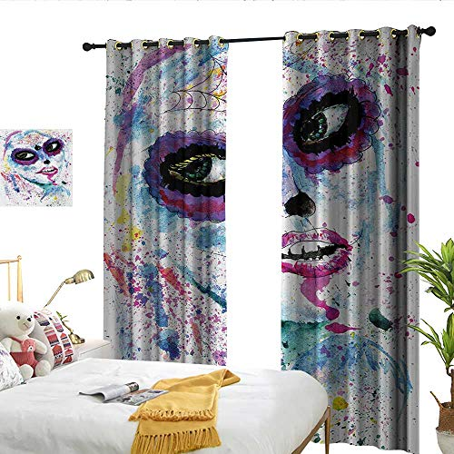 WinfreyDecor Girls Simple Curtain Grunge Halloween Lady with Sugar Skull Make Up Creepy Dead Face Gothic Woman Artsy for Living, Dining, Bedroom (Pair) W72 x -