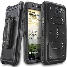 Samsung Galaxy J7 Perx Case, COVRWARE [Aegis Series] w/ Built-in [Screen Protector] Heavy Duty Full-Body Rugged Holster Armor Case [Belt Swivel Clip][Kickstand] For J7 Perx, Black