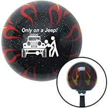 American Shifter Company ASCSNX1547450 White Only On A Jeep Black Flame Metal Flake Shift Knob with M16 x 1.5 Insert