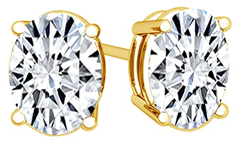 White Cubic Zirconia Oval Shape Stud Earrings In 14K Yellow Gold Over Sterling Silver (3 (Cubic Zirconia Oval Shape)