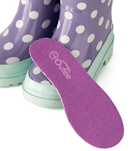 Pictures of Outee Toddler Girls Kids Rain Boots Rubber GLR17BDOTPUR7 4
