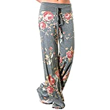 Chilie Women's Wide Leg Pants High Waist Plus Size Loose Soft Floral Print Drawstring Yoga Casual Pants
