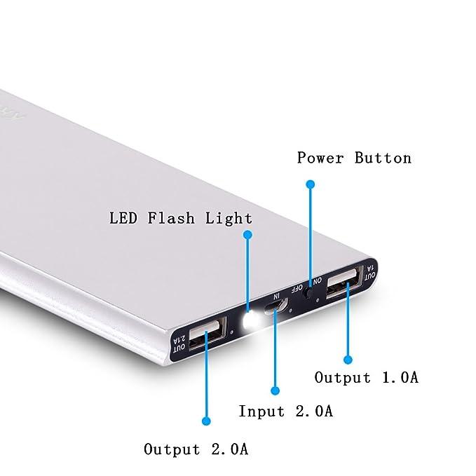 Krecoo 20000mAh Power Bank Portátil Batería Externa Ultrathin Led Flashlights 2 Cargadores USB para iPhone, iPad, Samsung Galaxy y Más: Amazon.es: ...
