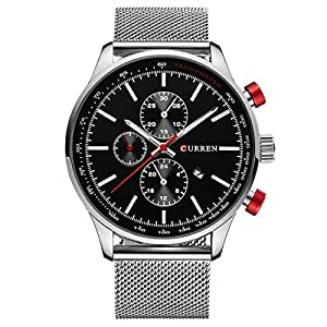 TREEWETO Men's Fashion Wrist Watches Analog Black Case with Silver Milanese Mesh Band Strap
