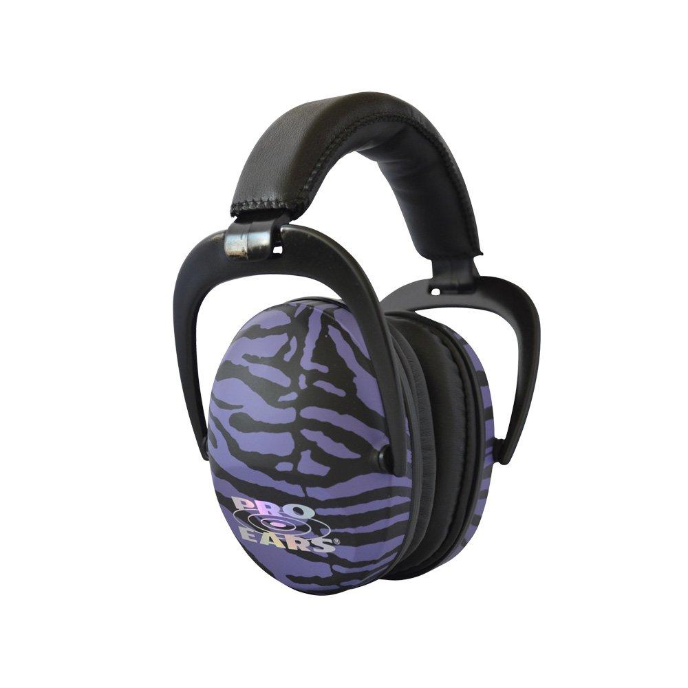 Pro Ears - Ultra Sleek -  Hearing Protection - NRR 26-Ear Muffs - Purple Zebra