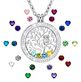 Created, Birthstone Necklace for Mothers Family Tree of Life Jewelry Floating Charm Memory Locket Necklace Gifts for Grandmas Silver