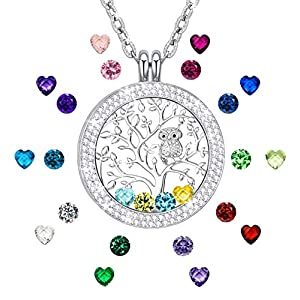 KIM S Gift for Mom Family Tree of Life Floating Charm Memory Lockets Pendant Necklace with Created Birthstone Necklace