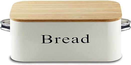 Svebake caja metálica para pan de bambú con tapa: Amazon.es ...