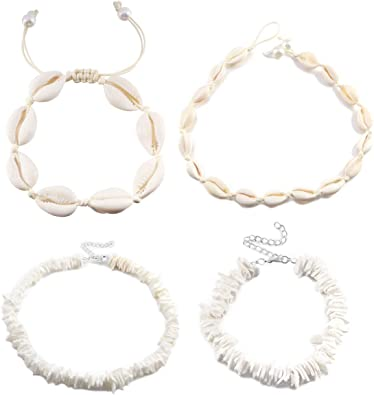 meekoo 4 Pieces Natural Shell Choker Necklace Handmade Shell Anklet Necklace Adjustable Hawaii Bracelets for Girls Women